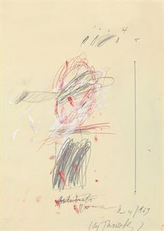 Cy Twombly - self-portrait, 1963, graphite, gouache, ink and wax crayon on paper