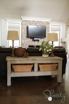 Behind the couch idea.  I would probably not use the lamps but I love the rustic table and baskets. I wonder if it's time to put a TV above the fireplace...