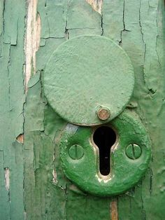 applecottage.quenalbertini2: Old green door detail