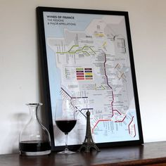 Framed Wine Maps and Charts - Wines of France - Tube Map framed