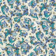 Traditional Italian Florentine Paper in Rich Blues Paper Decorations, Flower Decorations, Pretty Backrounds, Italian Pattern, Decoupage, Gold Highlights, Textured Wallpaper, Printing On Fabric, Print Patterns