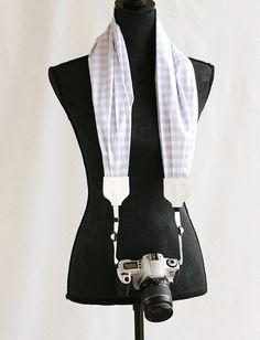 Last Call Sale: scarf camera strap gray gingham - BCSCS018