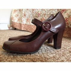brown buckle heels hardly worn! Franco Sarto Shoes Heels