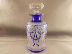 OLD Antique Legras Cameo Glass Cobalt Blue Clear Cologne Perfume Bottle SGND | eBay