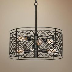 """Metal Lattice 6-Light 20 1/4"""" Wide Bronze Pendant Light - Bronze finish. Includes six maximum 60 watt Edison bulbs. Includes 6 feet chain and 12 feet wire. 21 1/2"""" high. 20 1/4"""" wide. Canopy is 6"""" wide. Ships in 1-2 days!"""