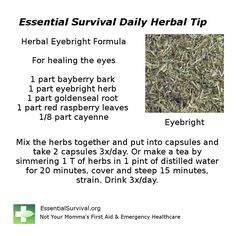Dr. Christopher's Herbal Eyebright Formula helps the eyes from many different problems.