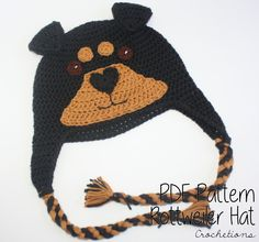 Love your Rottweiler? Make your own with the Rottweiler Hat Crochet Pattern