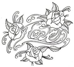 Loveroses Outline by vikingtattoo @ deviantART Skull Coloring Pages, Love Coloring Pages, Printable Adult Coloring Pages, Coloring Books, Rosen Tattoos, Heart Outline, Stencils, Hourglass Drawing, Deviantart Tattoo