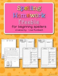 Spelling Homework For Beginning Spellers FREEBIE (grades 1-2) 4 simple activities to practice spelling words at home.