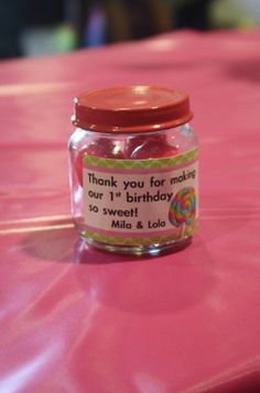 Baby Food Jar Labels Birthday | Baby food jar favors with pink gum balls