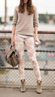 Outfit ideas. Camel sweater. Print pants. Ankle boots. Pastel