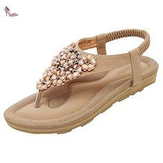 Oasap Femme Sandales Boho Faux Diamant Cordon De Serrage De Cheville, Off-White EURO40/US7.5/UK6 - Chaussures oasap (*Partner-Link)
