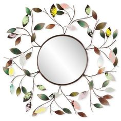 Southern Enterprises Multicolored Camara Leaf Wall Mirror found on Polyvore featuring home, home decor, mirrors, multicolored, leaf mirror, home wall decor, bronze mirror, colorful wall mirrors and southern enterprises