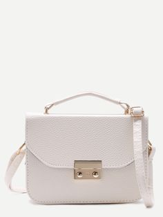 #AdoreWe #SheIn Bags - SheIn White Pebbled PU Box Handbag With Strap - AdoreWe.com
