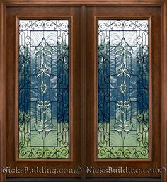 Mahogany Patio Doors with Beveled Glass and Wrought Iron Detailing