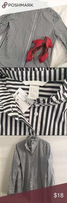H&M striped ruffle button down Perfect for work. 100% cotton. Still has tag. Never worn. Noticed a small marking, see last photo, on the front of the shirt. Most likely there prior to purchase. Can probably be washed off. 🔴 please no trades. Use the offer button 🔴 H&M Tops Button Down Shirts