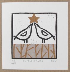 Christmas card – 'turtle doves' linocut Source by meryavuzg Stamped Christmas Cards, Xmas Cards, Christmas Art, Handmade Christmas, Christmas Images, Stamp Printing, Screen Printing, Stamp Carving, Linoprint