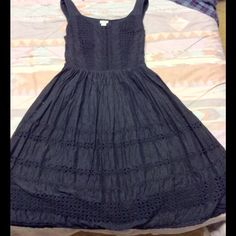Odille Little Black Eyelet Dress 2 cotton Cotton, hardly worn, don't have fabric belt- use a nice patent leather one! Size 2 no fading, lined, eyelet, in excellent condition, size zip Anthropologie Dresses