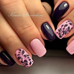 Navy & baby pink, with navy swirls and an accent finger with dusting of glitter.