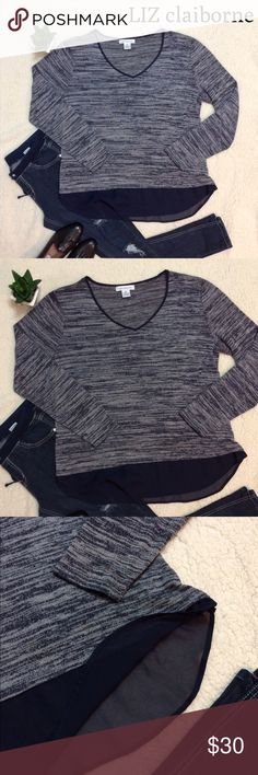 Liz Claiborne V Neck Heathered Top w/Blouse Bottom Very cute Polyester V Neck with blouse like bottom. Very cute and looks great with jeans or leggings Liz Claiborne Tops Blouses