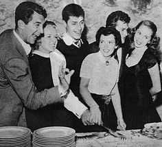 classickat:  Dean and Jeanne Martin, Jerry and Patti Lewis, and Tony Curtis and Janet Leigh celebrating Jerry's birthday party, March, 1951.
