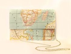 World Map Print Clutch with Chain...so cute!!!!