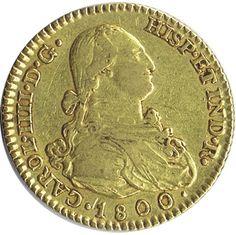 Moneda de oro 2 escudos Carlos IV 1800 Madrid MF.