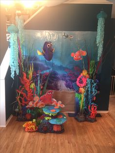 Finding Dory Party Decorations. Finding Nemo Party. Under the sea. Party props. Party decoration ideas. Do it yourself with Dollar Store items, spray foam, and spray paint.