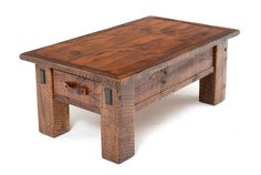 Beautiful reclaimed barnwood from the heartland of America is given new life in this rustic timber coffee table design.  Each is handcrafted from thick salvaged wooden beams and timbers full of character from over 100 years of naturally weathering.  This coffee table features two large drawers with heavy duty ball bearing drawer glides. 250 years