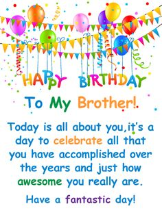 Send Free You're Awesome! - Happy Birthday Card for Brother to Loved Ones on Birthday & Greeting Cards by Davia. It's free, and you also can use your own customized birthday calendar and birthday reminders. Birthday Message For Brother, Happy Birthday Wishes For Her, Happy Valentines Day Funny, Happy Birthday Brother, Birthday Wishes Quotes, Happy Birthday Messages, Happy Birthday Images, Happy Birthday Greetings, Birthday Greeting Cards
