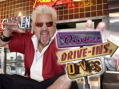Diners, Drive-ins, Dives is a Food Network show hosted by Guy Fieri. Fieri travels around the U.S. seeking the best of the best in Diners, drive-ins, and dive bars.