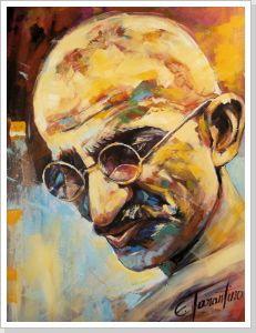Mahatma Gandhi - Acryl auf Leinwand 80 x 100 cm