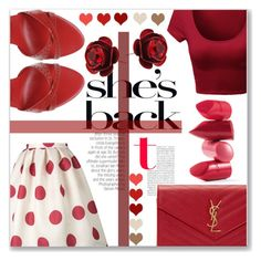 """""""Polka Dot Pretty"""" by lillianpaul ❤ liked on Polyvore featuring Rossetto, Roger Vivier, Yves Saint Laurent and Michal Negrin"""