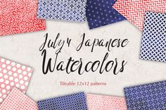 Japanese Background Patterns:: 4th of July watercolor graphicswith quatrefoil, swirls,stars and more. You get 10 High Quality Sheets::JPG files size 12x12 incheswith300 dpi jpg, for perfect printing or digital use. These have so many uses, they are great for scrapbooking, crafts, party decor, DIY projects, blogs, stationery& more. All patterns are original and copyrighted by All is Full of Love