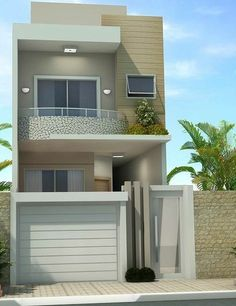 T h a y n a ♡ K a r o l a y n e Glam Home decor facade Fachada de casa de dois andares sobrado pequeno Bungalow Haus Design, Duplex House Design, House Front Design, Small House Design, Modern House Design, Indian House Plans, Model House Plan, Narrow House, Minimalist House Design