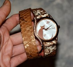 Women watch - Watch with cat - Steampunk watch - Python - Brown watch - Jewellery with cats - Python bracelet - Python leather Python watch