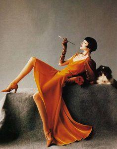 Harper's Bazaar, August 1993.  Photographer: Mario Testino  Model: Nadja Auermann. Dress: Chanel