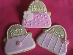 name cards purse sugar cookies. maybe for the shower?