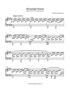 Moonlight Sonata by Beethoven, Op. Piano Sheet Music Classical, Piano Sheet Music Pdf, Free Sheet Music, Guitar Chords For Songs, Piano Songs, Music Guitar, Music Tabs, Music Notes, Moonlight Sonata Sheet Music