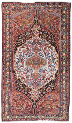 Antique Semiformal Rugs Gallery: Antique Bakhtiari Rug, Hand-knotted in Persia; size: 5 feet 2 inch(es) x 8 feet 9 inch(es)