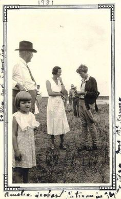 In 1931, Amelia Earhart was barnstorming across the country and landed - to much fanfare - on a dirt landing strip in Wichita Falls Texas. The older gentleman in the hat and tie is Joseph Albert (J.A.) Staley, who had taken his daughter, Fleetwood Staley and granddaughter, Jo Alice Staley (4), to meet the famous aviator.
