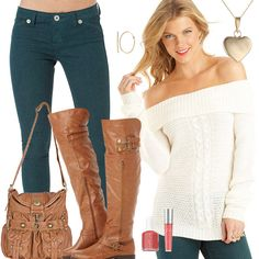 Cute Fall Sweaters, Jeans, Boots