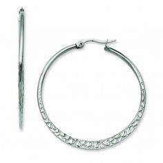 Stainless Steel 40mm Textured Hoop Earrings