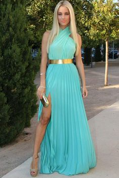 Green A Line Floor Lenght Halter Sleeveless Side Slit Chiffon Prom Dress,Party Dress P388
