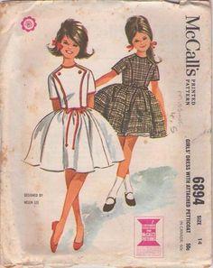 MOMSPatterns Vintage Sewing Patterns - McCall's 6894 Vintage 60's Sewing Pattern SO PRETTY Girls First Dance Designer Helen Lee Band Trim Bi...