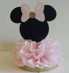 Minnie Mouse Birthday Party or Baby Shower Centerpiece Pink and Gold Table Decor Minnie Mouse Party, Minnie Mouse Birthday Decorations, Minnie Mouse First Birthday, Minnie Mouse Baby Shower, Minnie Mouse Pink, Mickey Party, 1st Birthday Girls, Minnie Mouse Favors, Birthday Table