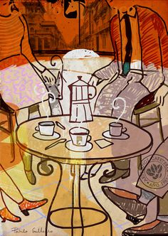 friends and coffee. Ilustration for coffee's company Cafés Caballo Blanco