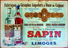 Rare advertising carton for the Sapin distillery in  Limoges
