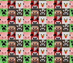 Minecraft style fabric Minecraft_Tribute_Blighty fabric by charmaynefb on Spoonflower - custom fabric. One of my new fabric designs available to buy on Spoonflower.com I have 3 different block sizes of this pattern available (2 available now and 1 will be available as of 11 Nov 2014). Also available to order in wallpaper and gift wrap. So many possibilities with this design! Quilting, cushions, backpacks, trim on blinds, art works, decoupage with the gift wrap - the list goes on!
