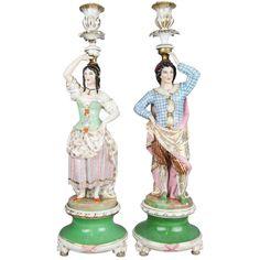 19th Century Porcelain Figural Candlesticks